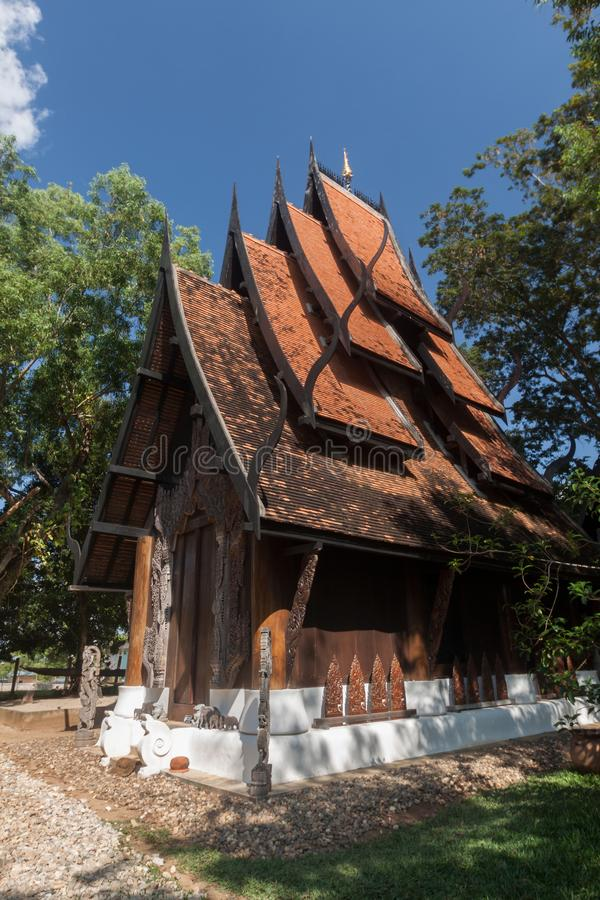 Old wooden building Lanna style at Chiangrai Thailand.  stock photo