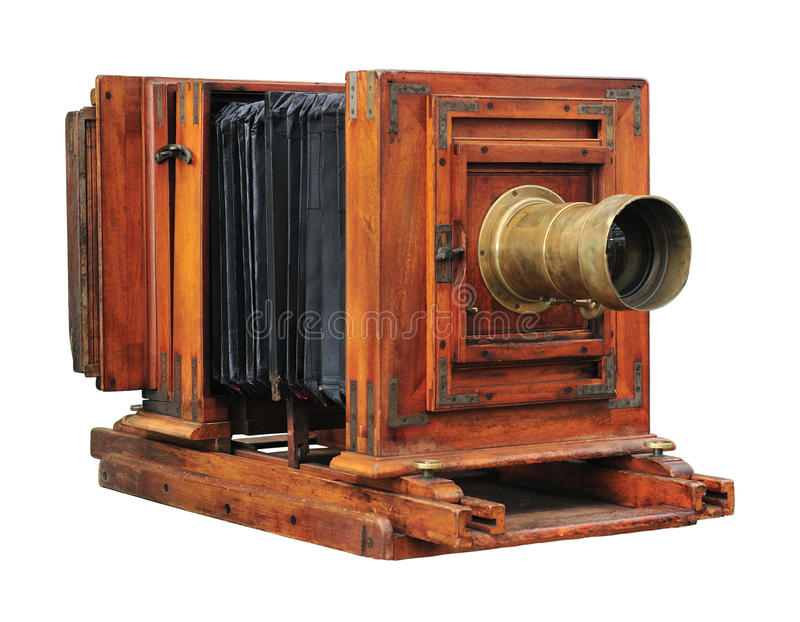 Old wooden camera royalty free stock photo
