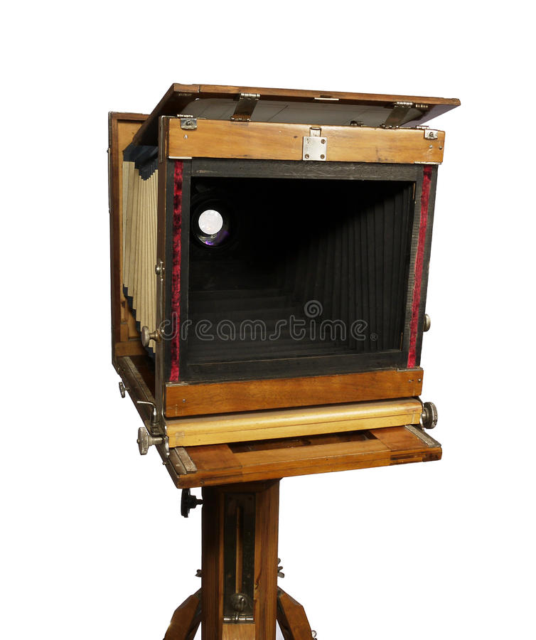 Old Wooden Camera Stock Photo