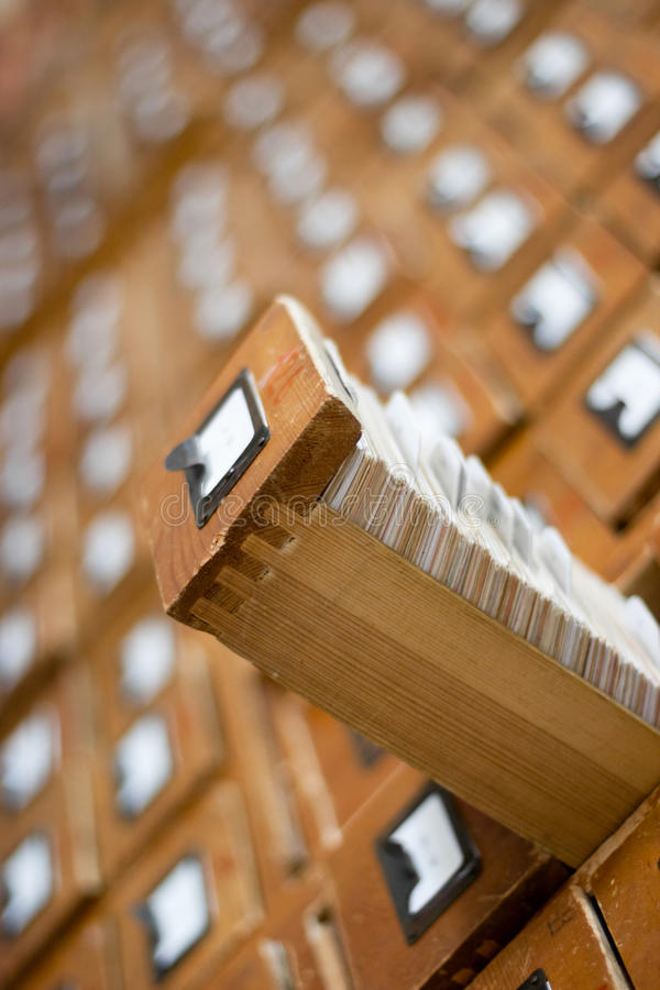 Old wooden card catalogue royalty free stock image