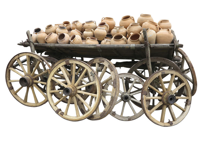 Download Old Wooden Cart Full Of Clay Pottery And Wheels Isolated Over Wh Stock Photo - Image: 35477260