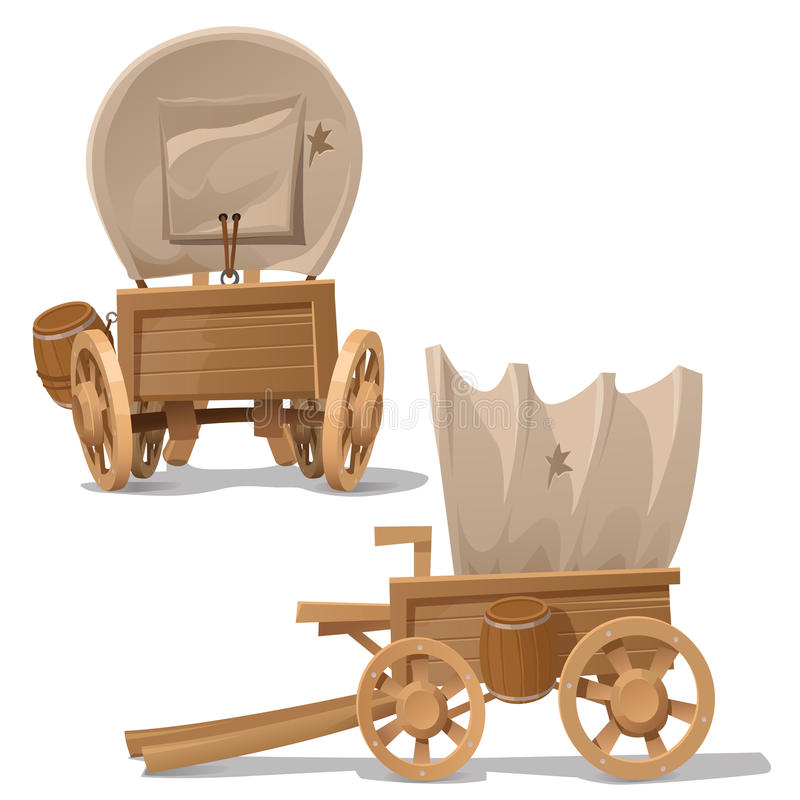 Old wooden cart with shot through canopy. Vector image in two perspectives royalty free illustration