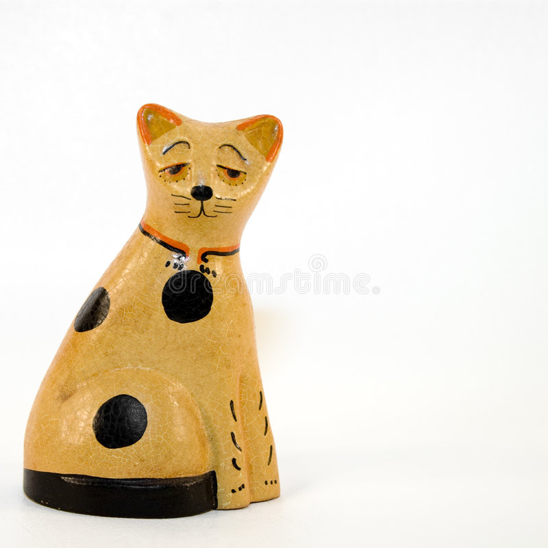 Download Old Wooden Cat stock photo. Image of statuette, children - 4220864