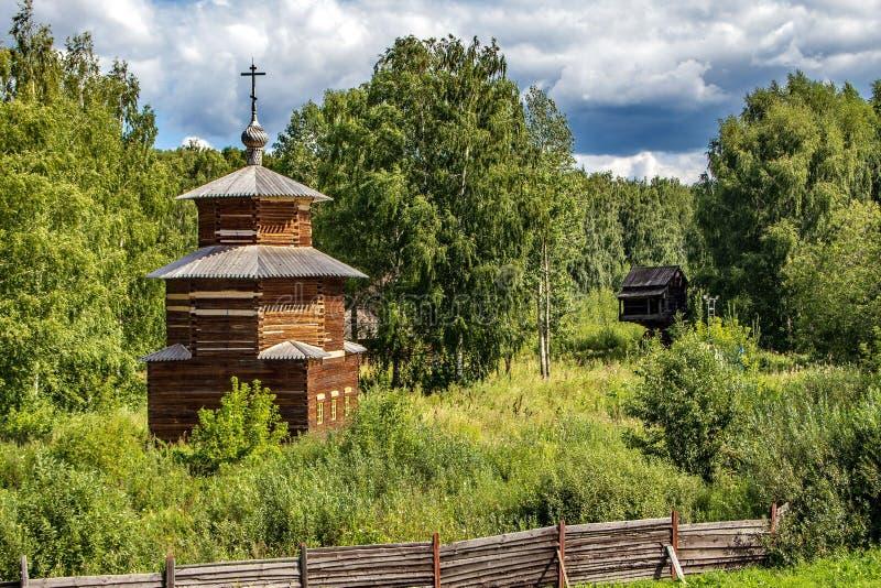 An old wooden chapel in a village cemetery. Kizhi Island, Onega Lake, Karelia. royalty free stock photos