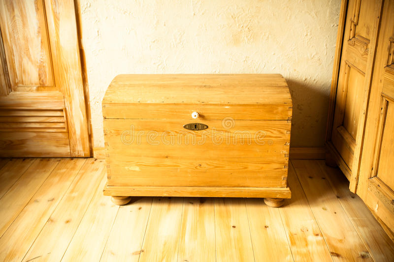 Old wooden chest like treasure box in the attic royalty free stock photos