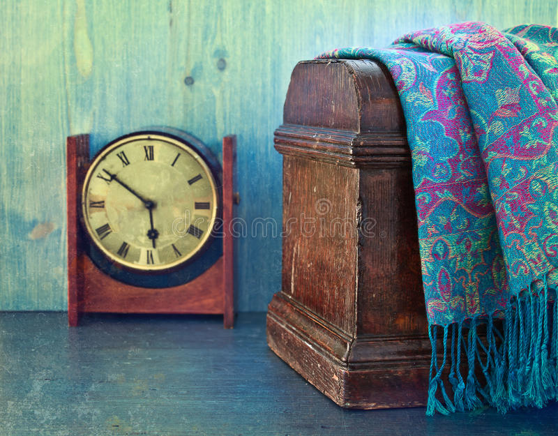 Old wooden chest and watches royalty free stock photos