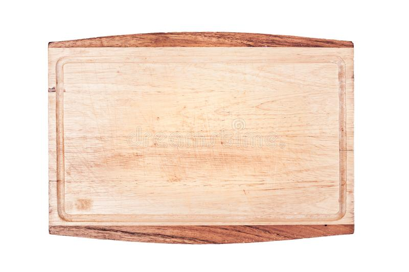 old wooden chopping board isolated on white background close up stock photography