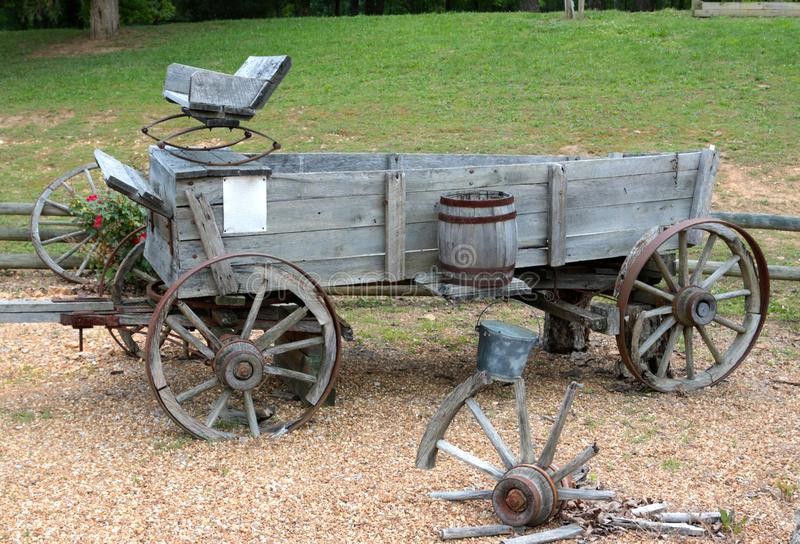 Old Wooden Chuck Wagon. A chuckwagon or chuck wagon is a type of wagon historically used to carry food and cooking equipment on the prairies of the United stock photos