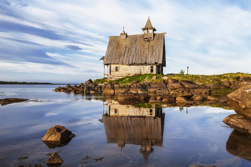 Old wooden Church built for the filming of `The Island` in the White sea, Rabocheostrovsk, Karelia,. Russia stock photography