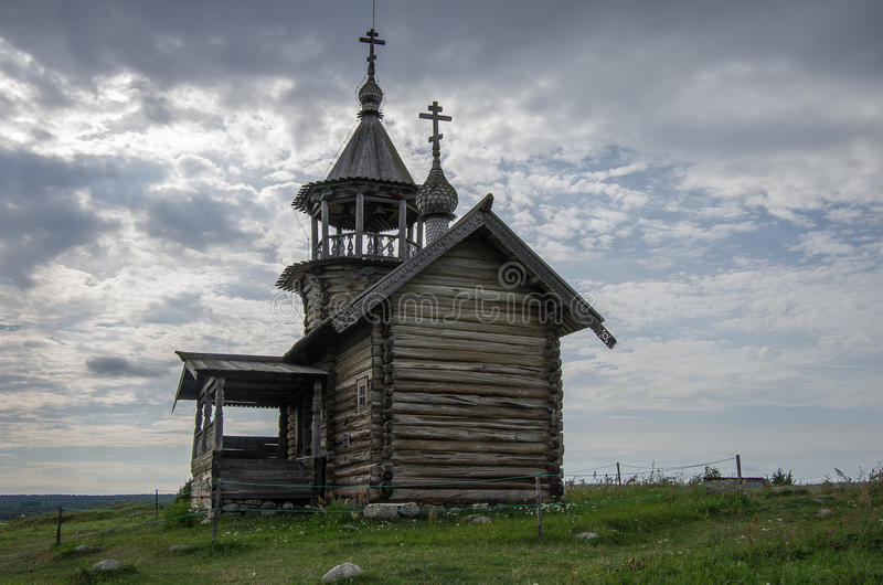 Old wooden church, chapel Holy Face, Kizhi island, Karelia, Russ royalty free stock photos