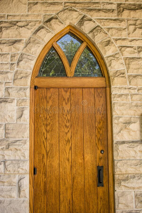 Free Old Wooden Church Door Entry Stained Glass Royalty Free Stock Images - 171079189