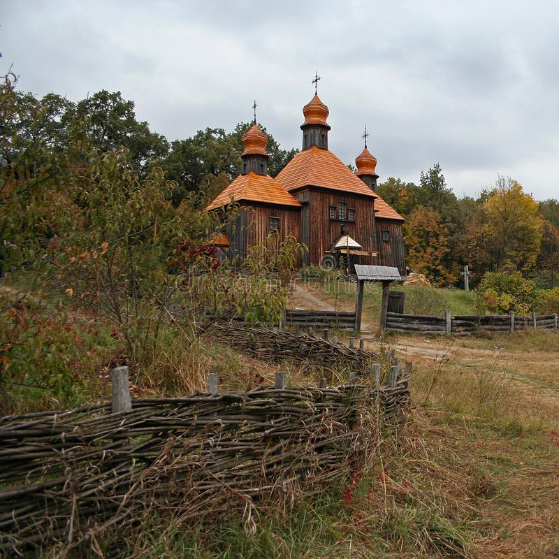 Old wooden church and fence royalty free stock photo