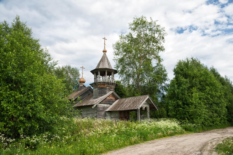 Old wooden church in Karelia. Old rustic wooden church, the chapel of St. Nicholas, Karelia, Russia stock images