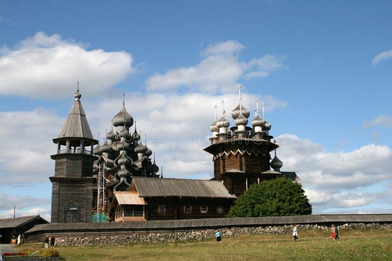 Old wooden church on Kizhi island stock photos