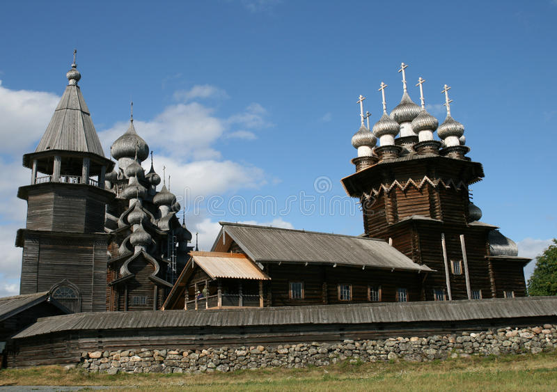 Old wooden church on Kizhi island royalty free stock image