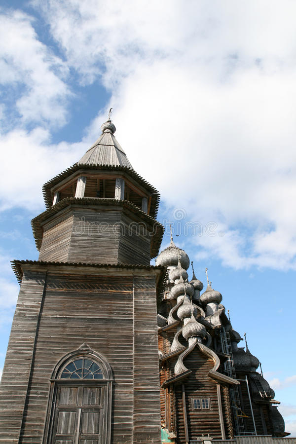 Old wooden church on Kizhi island stock images