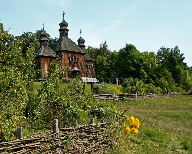old wooden church in the open-air museum Pirogovo Kiev stock photo