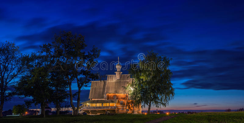 Old wooden church in Suzdal at night royalty free stock photo