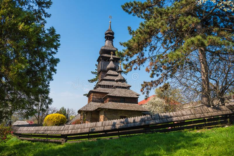 Old wooden church in Uzhgorod, Ukraine. Greek-Catholic Church of the Holy Archangel Michael built in 1777 without any iron nail royalty free stock image