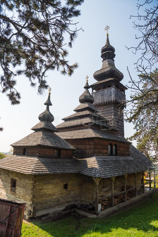 Old wooden church in Uzhgorod, Ukraine. Greek-Catholic Church of the Holy Archangel Michael built in 1777 without any iron nail stock images
