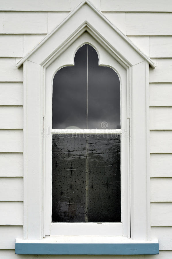 Old wooden church window stock image