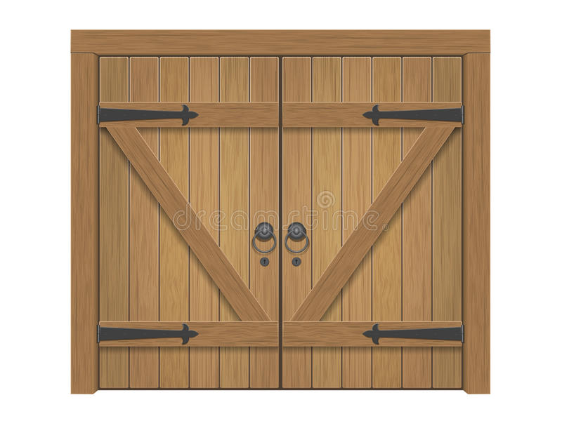 Old wooden closed gate. Old wooden massive closed gate. Double door with iron handles and hinges stock illustration