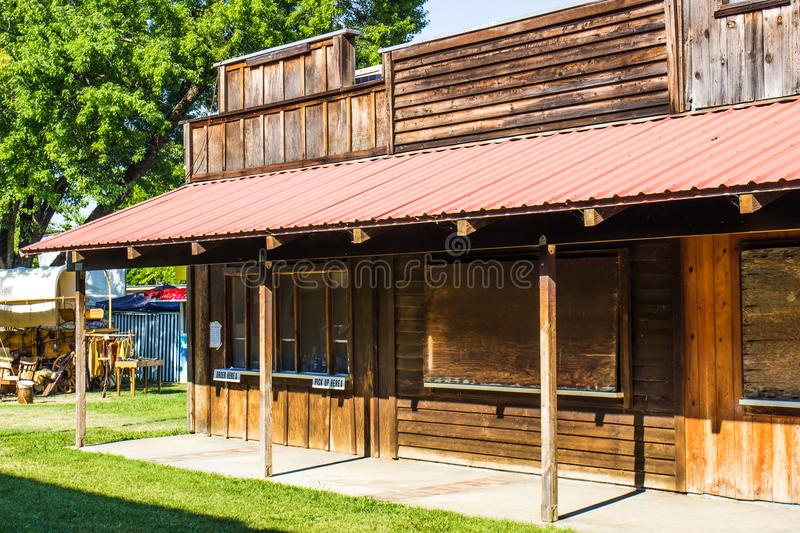 Old Wooden Concession Stand At Local County Fair. Old Wooden Concession Stand With Overhang At Local County Fair stock photography