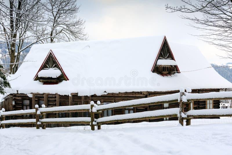 Old wooden cottage in Zakopane stock photo