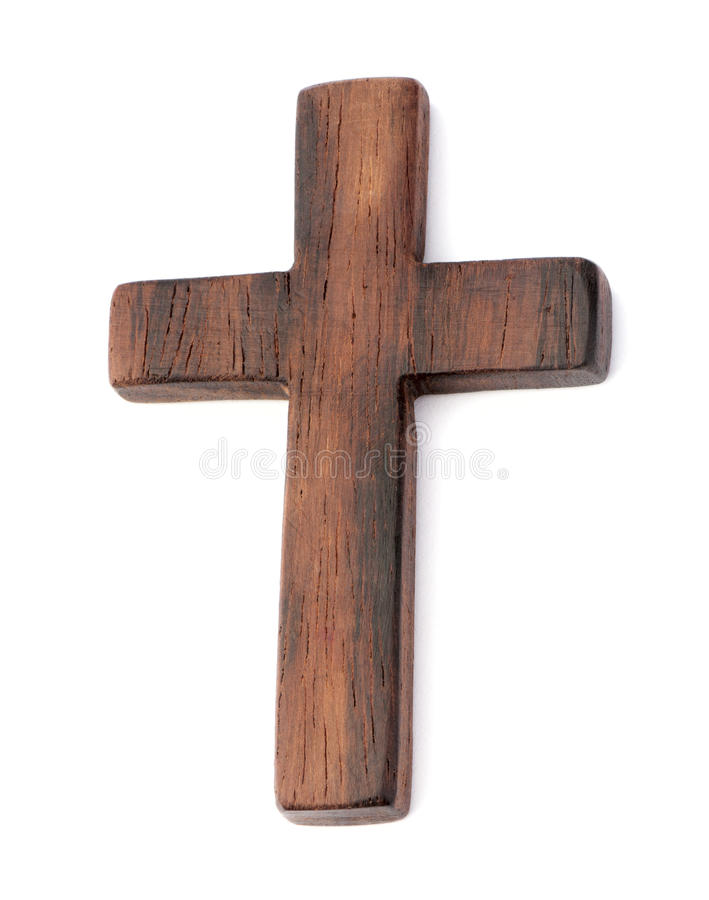 Old wooden cross. On white background stock images