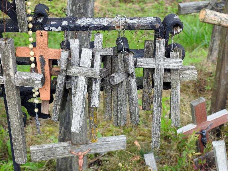 Old wooden cross on hill, Lithuania royalty free stock photos