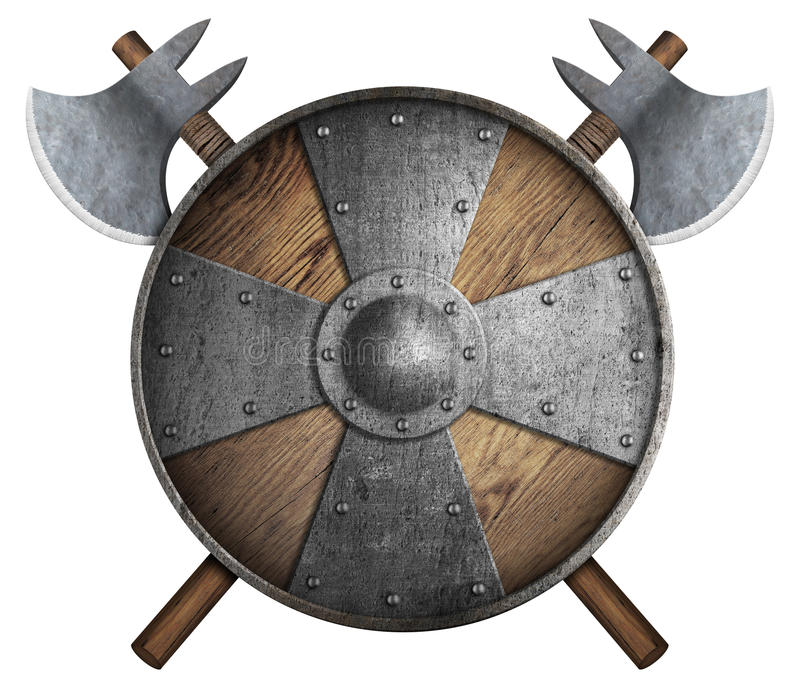 Old wooden crusader`s shield and two crossed axes isolated 3d illustration royalty free illustration