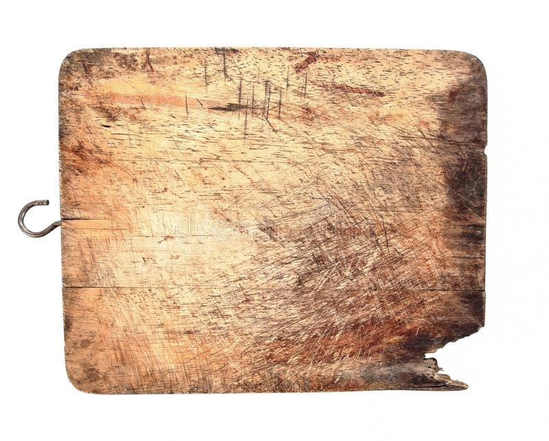 Old wood cutting board isolated on white background. Old chopping board stock images