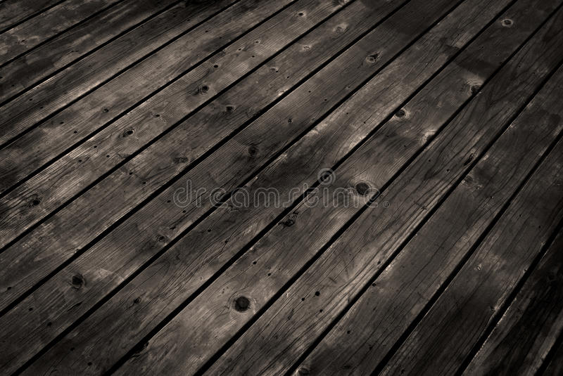 Old Wooden Deck. Detailed closeup of old wooden deck royalty free stock photos