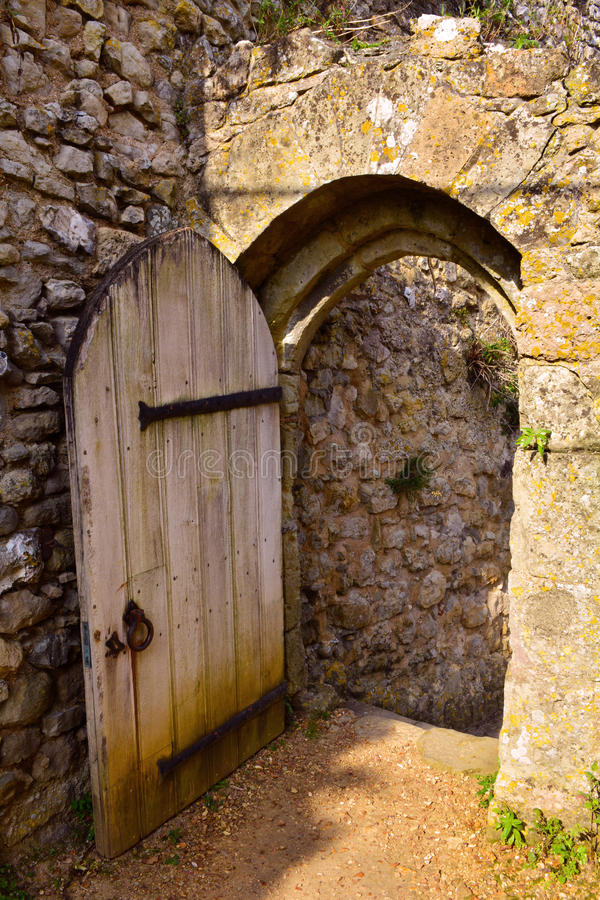 Old Wooden door at Carisbrooke Castle, Newport, the Isle of Wight, England stock photo