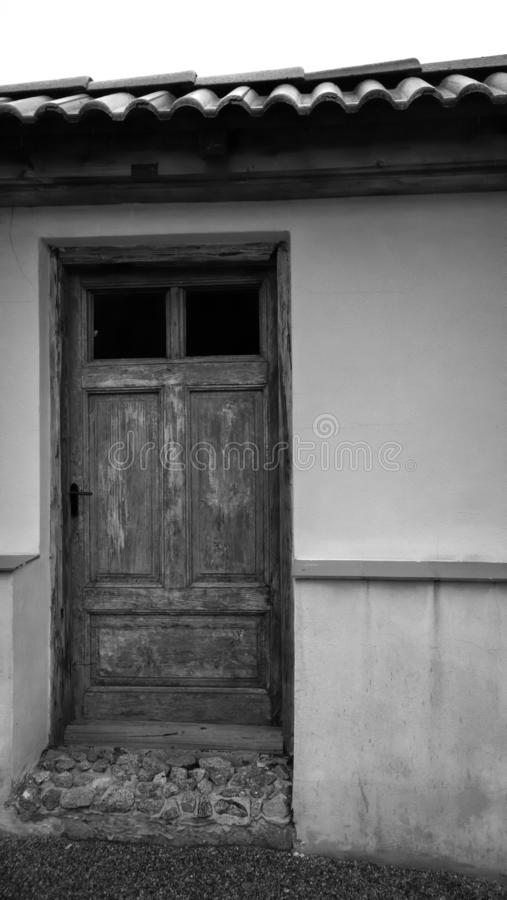 Old wooden door closed in the building stock photography