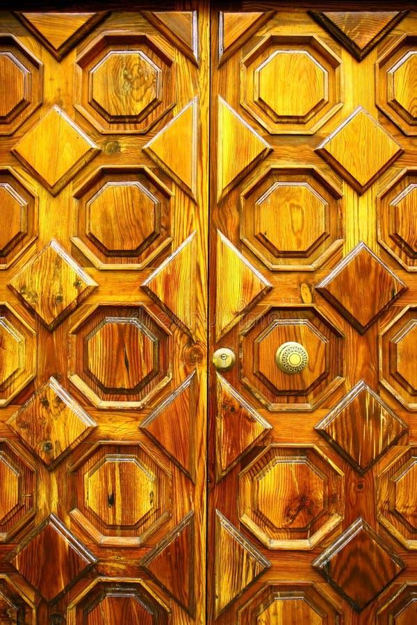 Old wooden door with handel royalty free stock photography