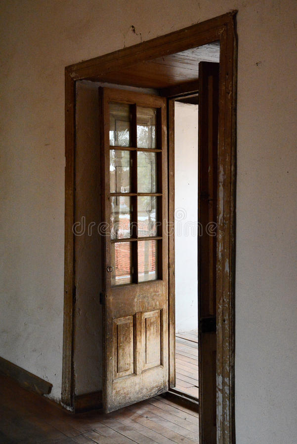 Old wooden door. Inside the house parra violet in the city of San Carlos Chile royalty free stock photos