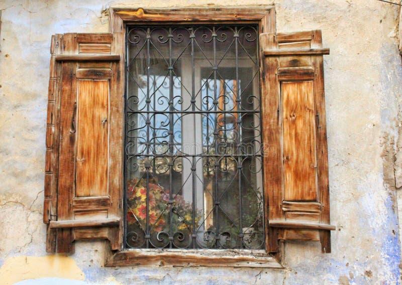 An old wooden door from Kula, Turkey stock image