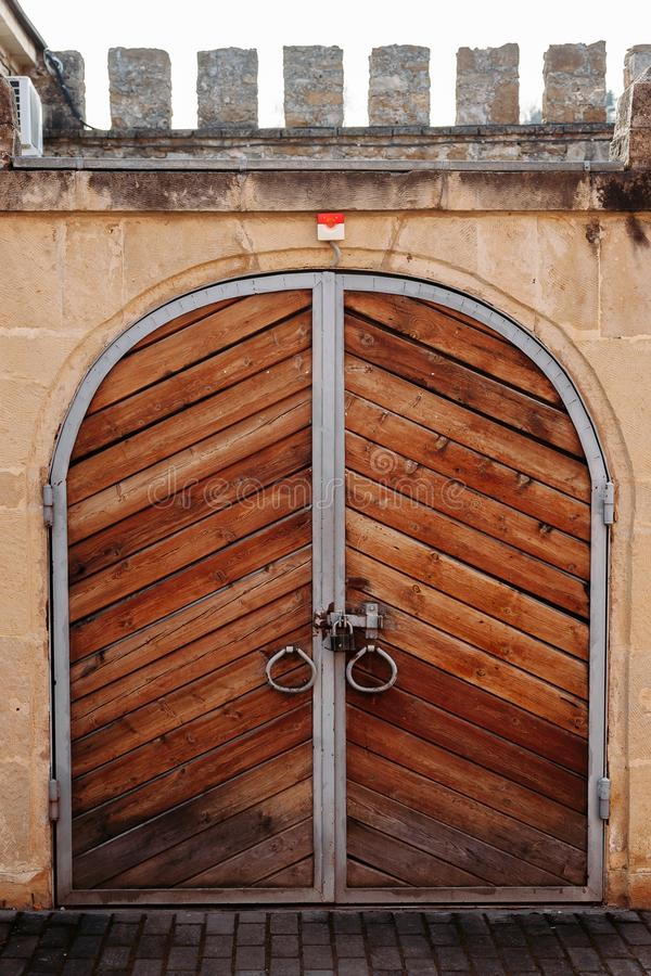 Old wooden door with lock royalty free stock images
