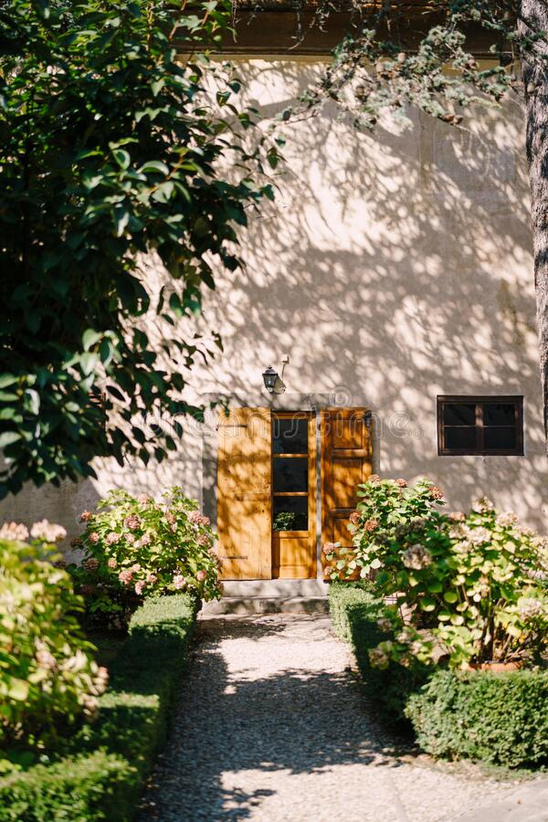 Old wooden door open and the facade of the Medici Villa of Lilliano Wine Estate, Tuscany, Italy under the shade of trees. Hydrangea flower pots illuminated by royalty free stock photo