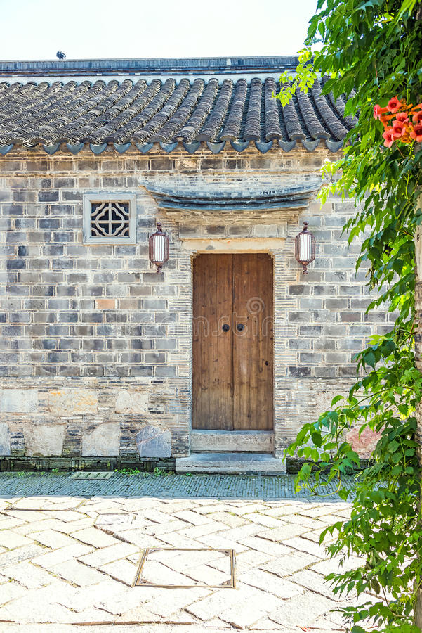Old wooden door. This photo was taken in laomendong scenic spot, Nanjing city, Jiangsu province, china royalty free stock photos