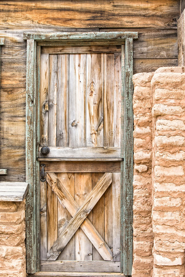 Old wooden door. From the western days royalty free stock photo