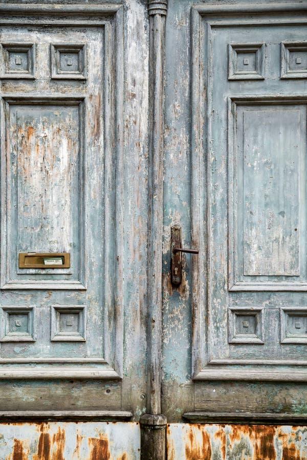 Old wooden door in Zagreb, Croatia. Europe stock photography