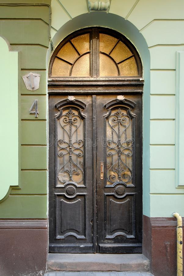 Old Wooden Doors With Stained-glass Windows, Forged Grills And ...