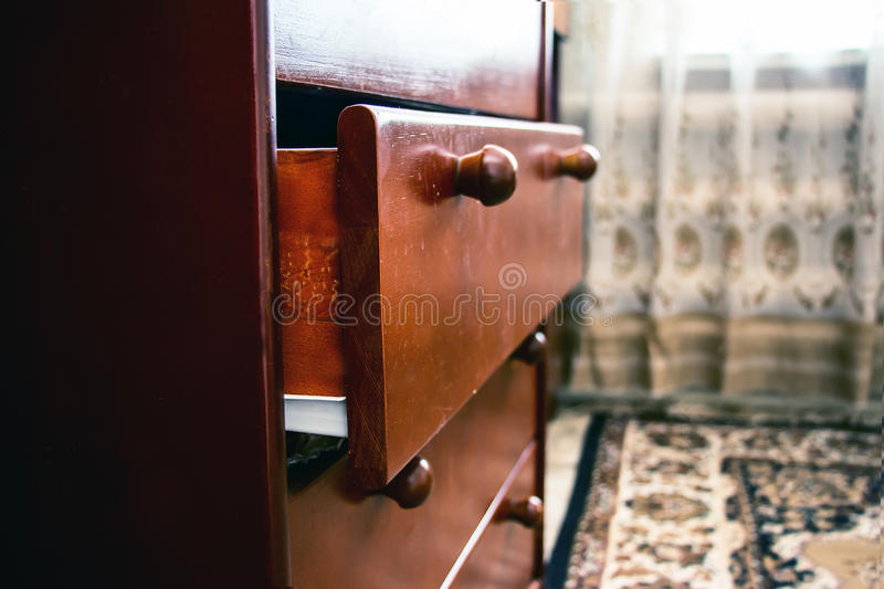 Old wooden drawer stock photography
