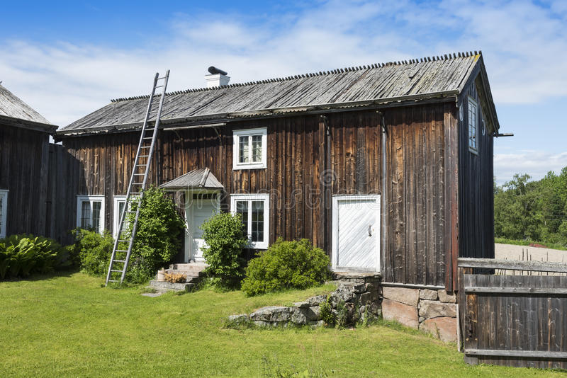 Old wooden dwelling house Halsingland. Old wooden dwelling house of Ystegårn, one of around one thousand Decorated Farmhouses of Halsingland (Swedish: Hä royalty free stock photo