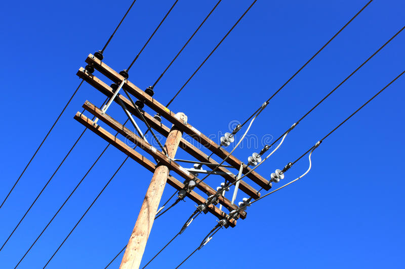 Download Old wooden electric pole stock photo. Image of powerlines - 14852600