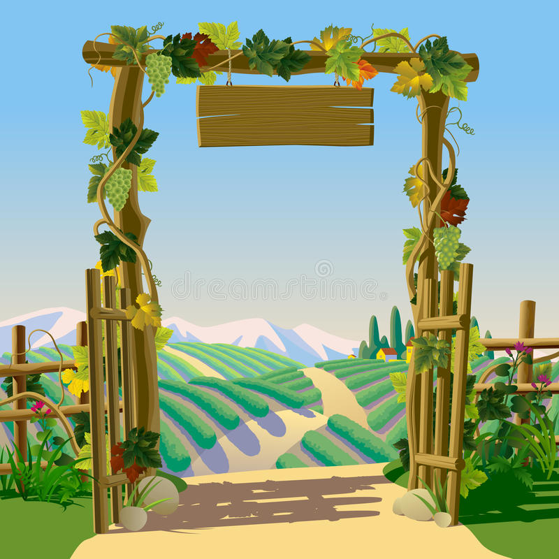 Old wooden farm gate with signboard, grapes and Mediterranean la. Ndscape with vineyards. Winemaking concept frame and background. Wine label design. There is in stock illustration