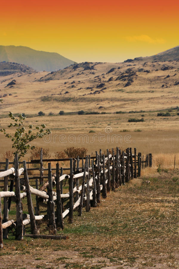 Old wooden fence at a ranch stock images