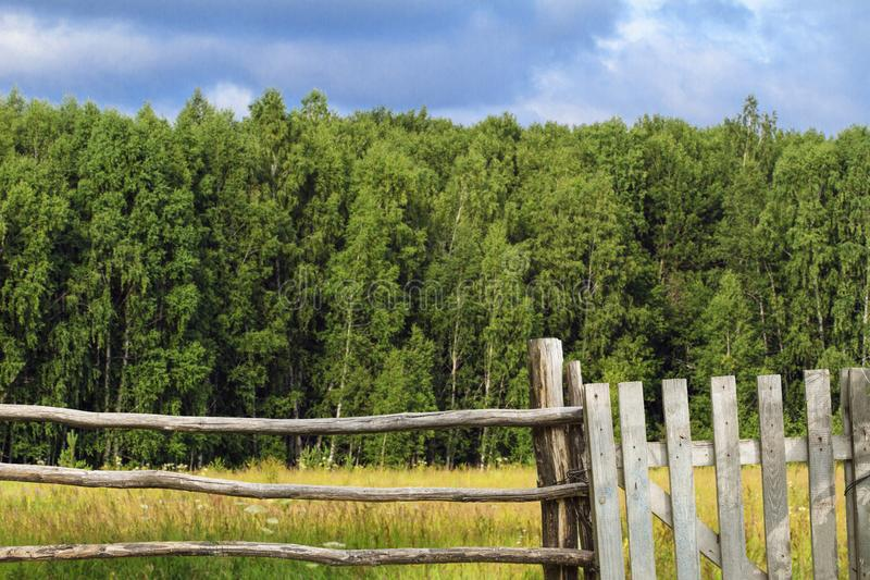 Old wooden fence with wicket in background of green grasses and forest. Scenic landscape. Concept of rural way of life.  royalty free stock images